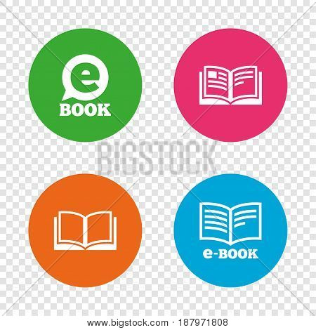 Electronic book icons. E-Book symbols. Speech bubble sign. Round buttons on transparent background. Vector