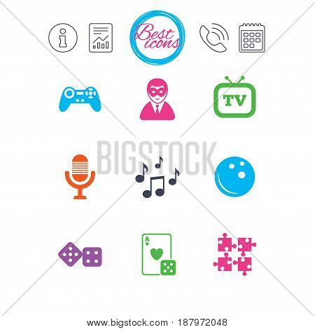 Information, report and calendar signs. Entertainment icons. Game, bowling and puzzle signs. Casino, carnival and musical note symbols. Classic simple flat web icons. Vector
