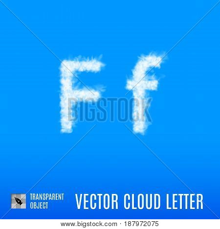Clouds in Shape of the Letter F on Blue Background