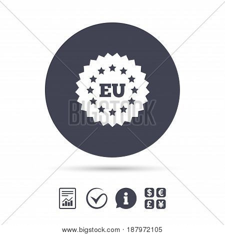 European union icon. EU stars symbol. Report document, information and check tick icons. Currency exchange. Vector