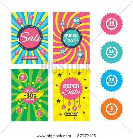Web banners and sale posters. Every 10, 25, 30 minutes and 1 hour icons. Full rotation arrow symbols. Iterative process signs. Special offer and discount tags. Vector