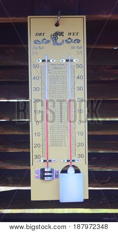 Wet bulb dry bulb thermometer on wood slat wall