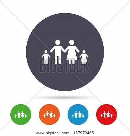 Family with two children sign icon. Complete family symbol. Round colourful buttons with flat icons. Vector