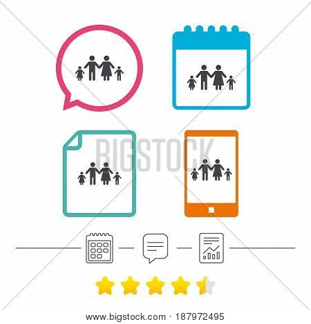 Family with two children sign icon. Complete family symbol. Calendar, chat speech bubble and report linear icons. Star vote ranking. Vector