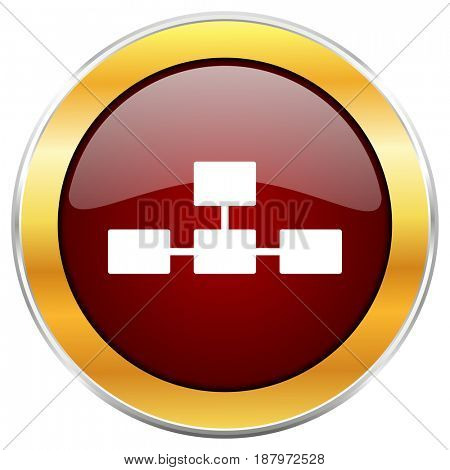 Database red web icon with golden border isolated on white background. Round glossy button.