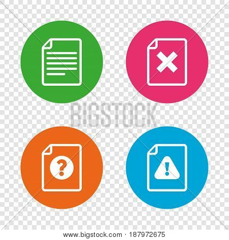 File attention icons. Document delete symbols. Question mark sign. Round buttons on transparent background. Vector