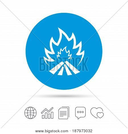 Fire flame sign icon. Heat symbol. Stop fire. Escape from fire. Copy files, chat speech bubble and chart web icons. Vector