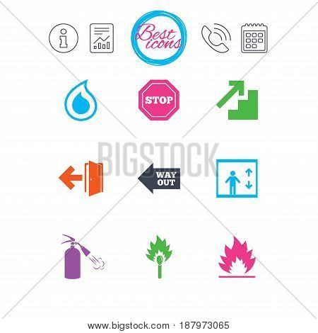 Information, report and calendar signs. Fire safety, emergency icons. Fire extinguisher, exit and stop signs. Elevator, water drop and match symbols. Classic simple flat web icons. Vector