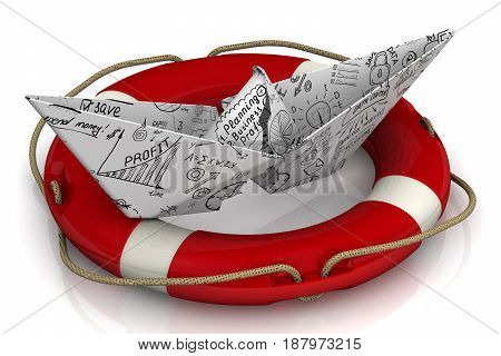 Business plan rescue. Torn paper boat made from a sheet with business sketches in the lifebuoy on a white surface. Isolated. 3D Illustration