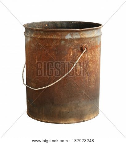 Rusty bucket isolated on a white background