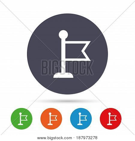 Flag pointer sign icon. Location marker symbol. Round colourful buttons with flat icons. Vector
