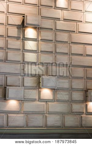 Architecture Interior White Cubes Light Wall stock photo