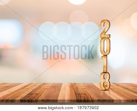 2018 (3d rendering) wood texture number on wood plank table top with blur abstract bokeh light backgroundLeave copy space for text or productNew year and Christmas holiday concept.