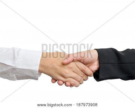 Close up asian businesswoman handshake isolated on white background