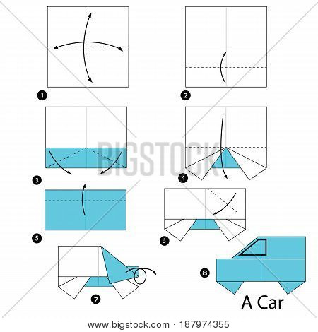 step by step instructions how to make an origami A car