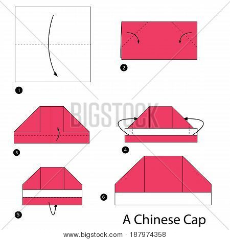 step by step instructions how to make an origami A Chinese Cap