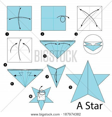 step by step instructions how to make an origami A star