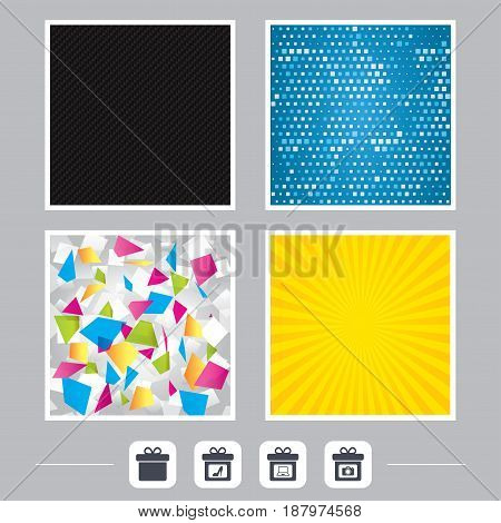 Carbon fiber texture. Yellow flare and abstract backgrounds. Gift box sign icons. Present with bow symbols. Photo camera sign. Woman shoes. Flat design web icons. Vector