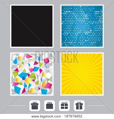 Carbon fiber texture. Yellow flare and abstract backgrounds. Gift box sign icons. Present with bow and ribbons sign symbols. Flat design web icons. Vector