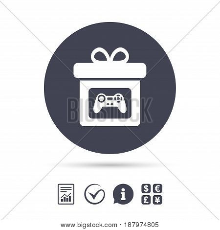 Gift box sign icon. Present with video game joystick symbol. Report document, information and check tick icons. Currency exchange. Vector