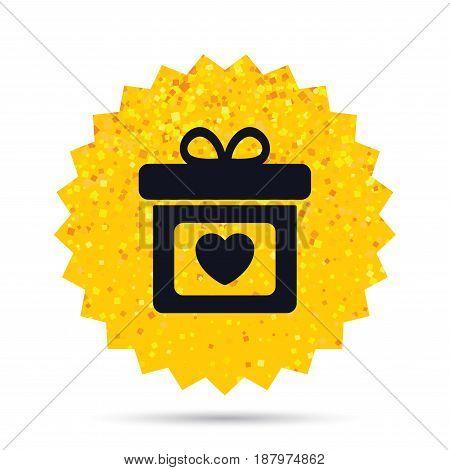 Gold glitter web button. Gift box sign icon. Present with heart love symbol. Rich glamour star design. Vector