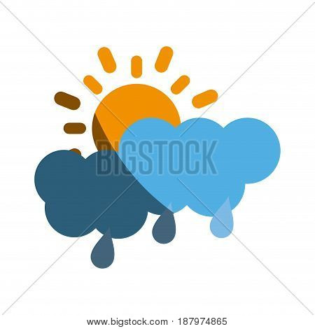 partly covered cartoon sun with rain clouds icon image vector illustration design
