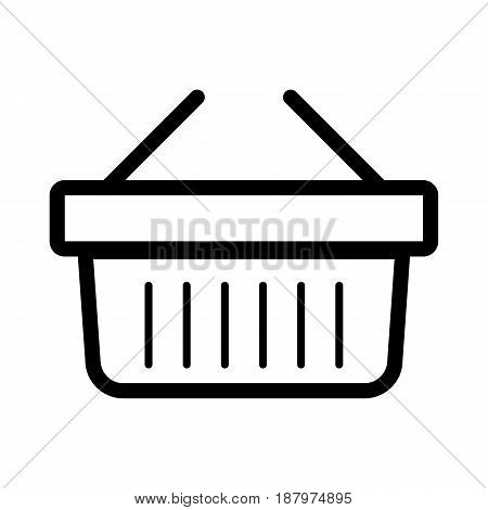 Online shopping vector icon. Black and white shopping cart illustration. Outline linear business icon. eps 10