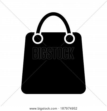 Shopping bag vector icon. Black and white bag illustration with blank space for your text. Solid linear icon. eps 10