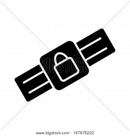 Safety belt icon. Outline Black pictogram on white background. Vector illustration symbol and bonus button closed lock. eps 10