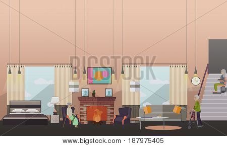 Vector illustration of aged people at home. Elderly woman sitting in armchair at fireplace, senior man and woman moving in the room using walkers and chair lift for stairs. Flat style design.