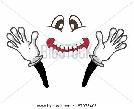 Joyful smiley face with hands gesture. Funny facial expression, cute comic emoji, emoticon character isolated vector illustration.
