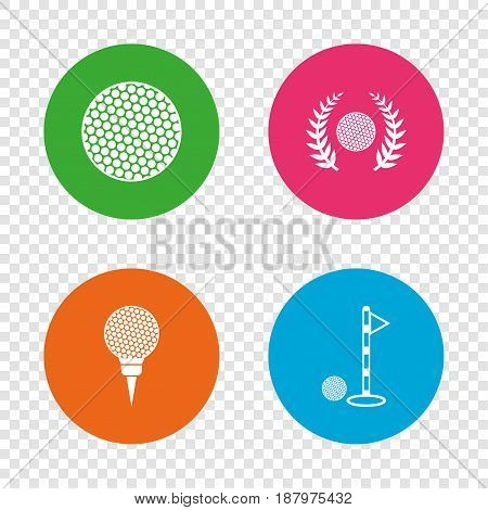 Golf ball icons. Laurel wreath winner award sign. Luxury sport symbol. Round buttons on transparent background. Vector