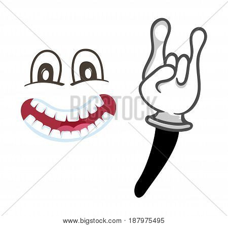 Joyful smiley face with rock gesture. Funny facial expression, cute comic emoji, emoticon character isolated vector illustration.