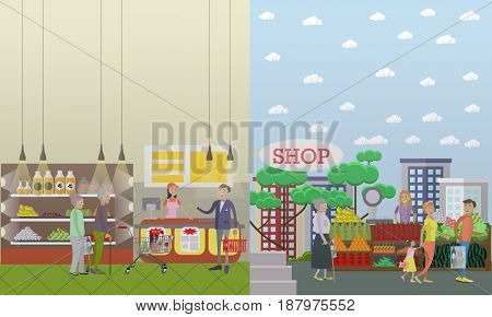 Vector illustration of mature people doing shopping in grocery store and in fruit and vegetable market stalls. Flat style design.