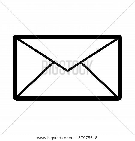 Email vector icon. Black and white mail illustration. Outline linear message icon. eps 10