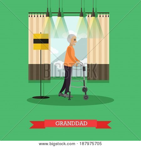 Vector illustration of senior man moving in the room using walkers for elderly people. Granddad with mobility walker design element in flat style.