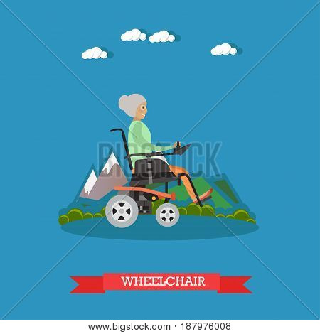 Vector illustration of elderly woman sitting in wheelchair or riding electric wheelchair in park. Flat style design.
