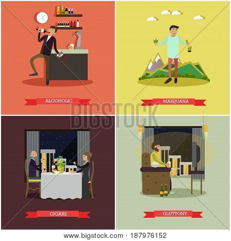 Vector set of bad habits posters. Alcoholic, Marijuana, Cigars and Gluttony concept flat style design elements.