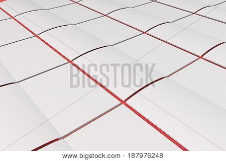 Grid Of Blank White Opened Brochure Mock-up On Red Background