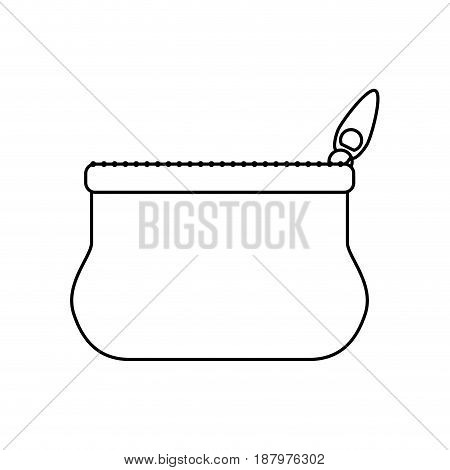 line cute purse with zipper to save cash money, vector illustration