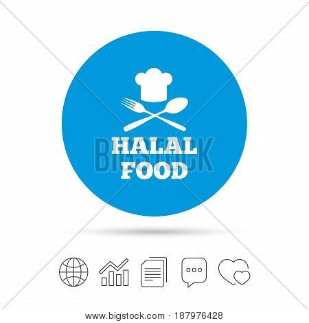 Halal food product sign icon. Chef hat with spoon and fork. Natural muslims food symbol. Copy files, chat speech bubble and chart web icons. Vector