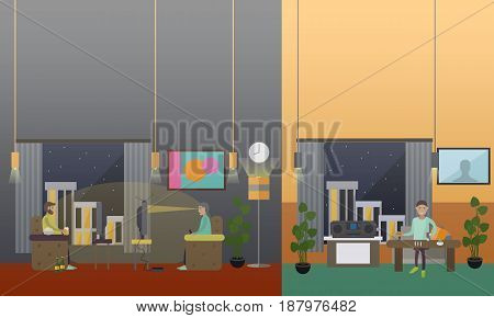 Vector flat illustration of people watching tv, playing video games, eating and drinking at the same time. Excessive television watching as public health problem. Tv like drug concept design element.