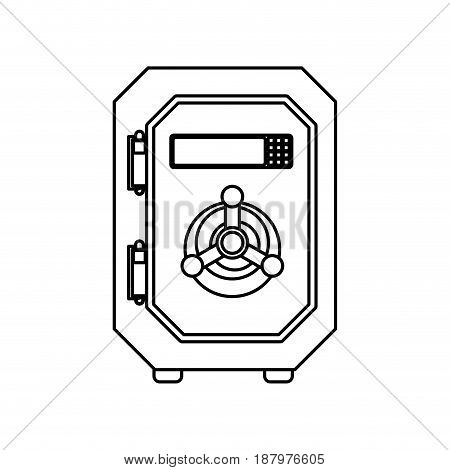 line metal strong box to save money, vector illustration