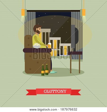 Vector illustration of man watching tv, drinking beer and eating popcorn. Unhealthy lifestyle, harmful effects of eating in front of TV, gluttony concept design element in flat style.