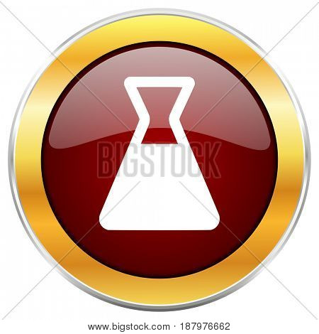 Laboratory red web icon with golden border isolated on white background. Round glossy button.