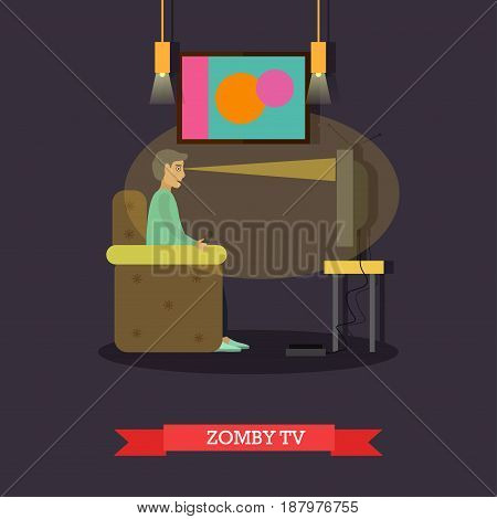 TV zombie vector illustration. Bad habits concept design element in flat style.