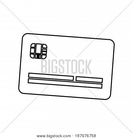 line cute credit card to pay electronic, vector illustration