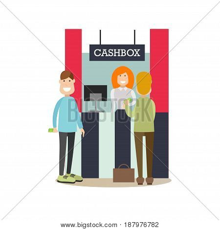Vector illustration of bank teller female and customers males standing next to cashbox. Bank people concept flat style design elements, icons isolated on white background.