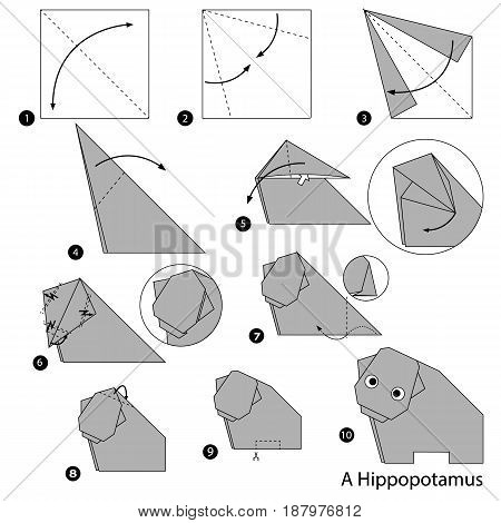 step by step instructions how to make origami A Hippopotamus