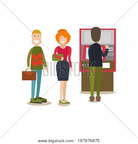 Vector illustration of people waiting in line for cash money. ATM or cash dispenser and bank people concept flat style design elements, icons isolated on white background.